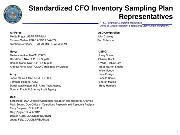 Standardized CFO Inventory Sampling Plan Representatives