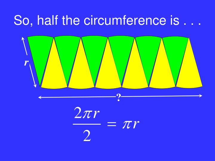 So, half the circumference is . . .
