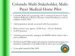 colorado multi stakeholder multi payer medical home pilot
