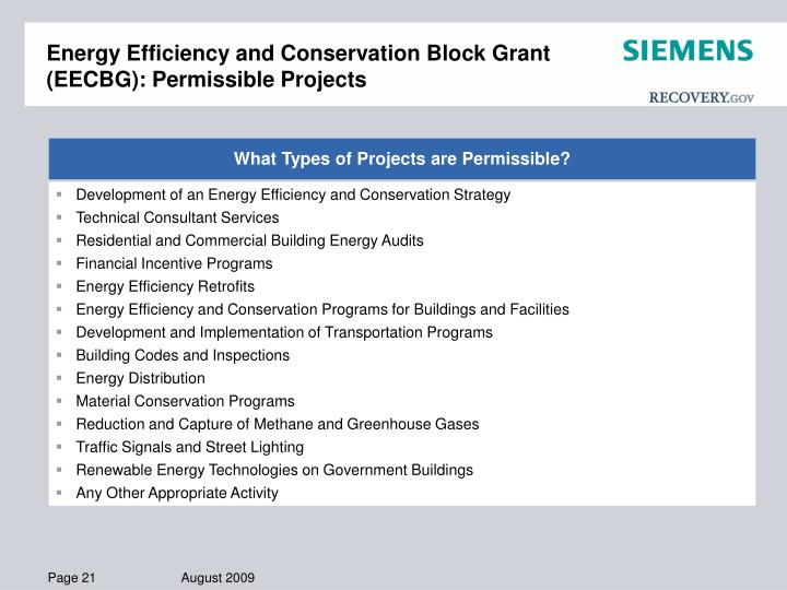 Energy Efficiency and Conservation Block Grant (EECBG): Permissible Projects