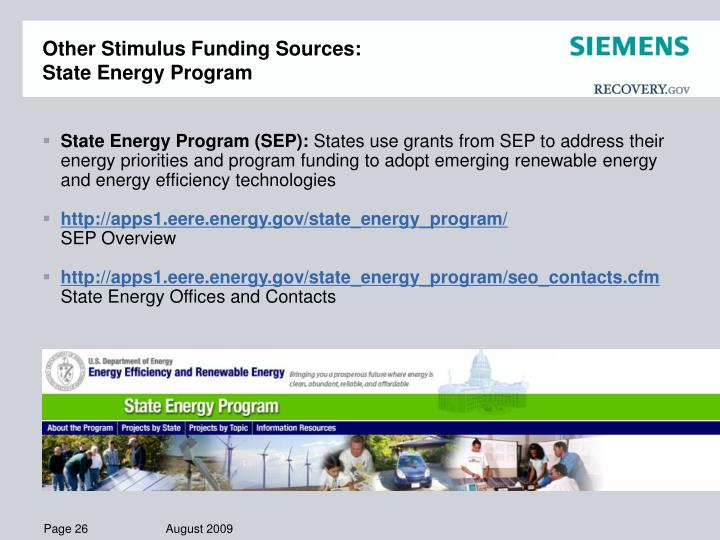 Other Stimulus Funding Sources: