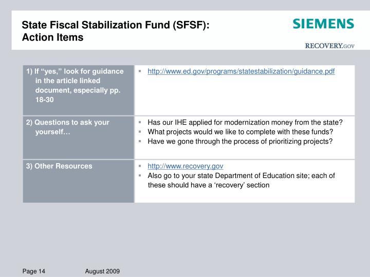 State Fiscal Stabilization Fund (SFSF):