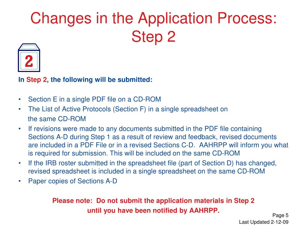 Changes in the Application Process: Step 2