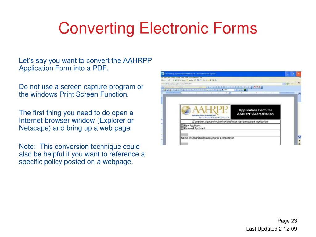Let's say you want to convert the AAHRPP Application Form into a PDF.