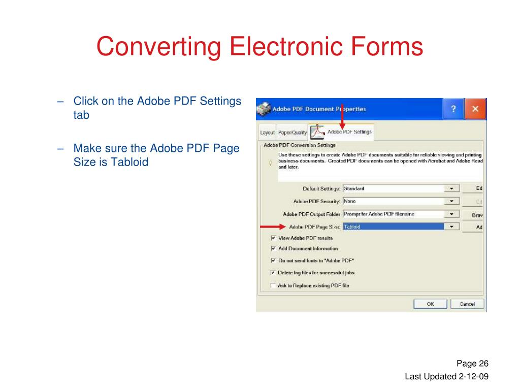 Click on the Adobe PDF Settings tab