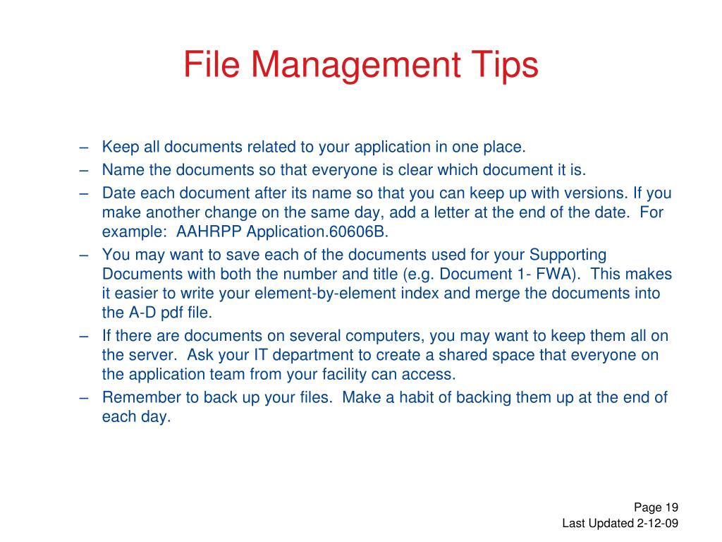 File Management Tips