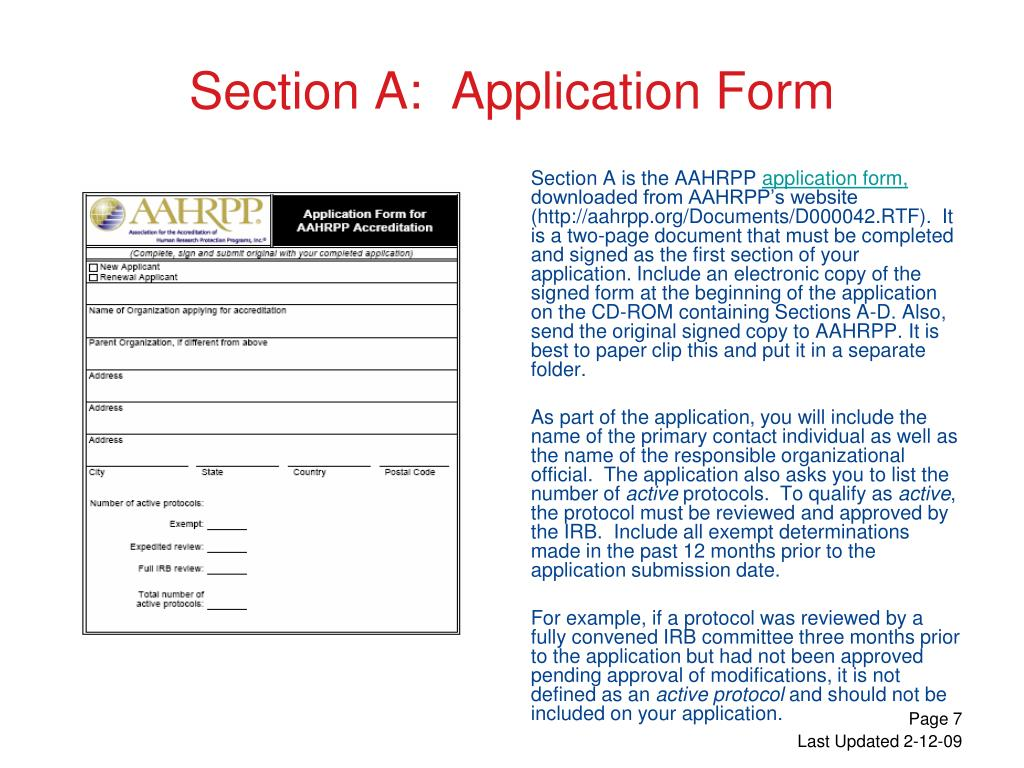 Section A:  Application Form