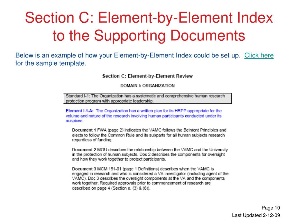 Section C: Element-by-Element Index to the Supporting Documents