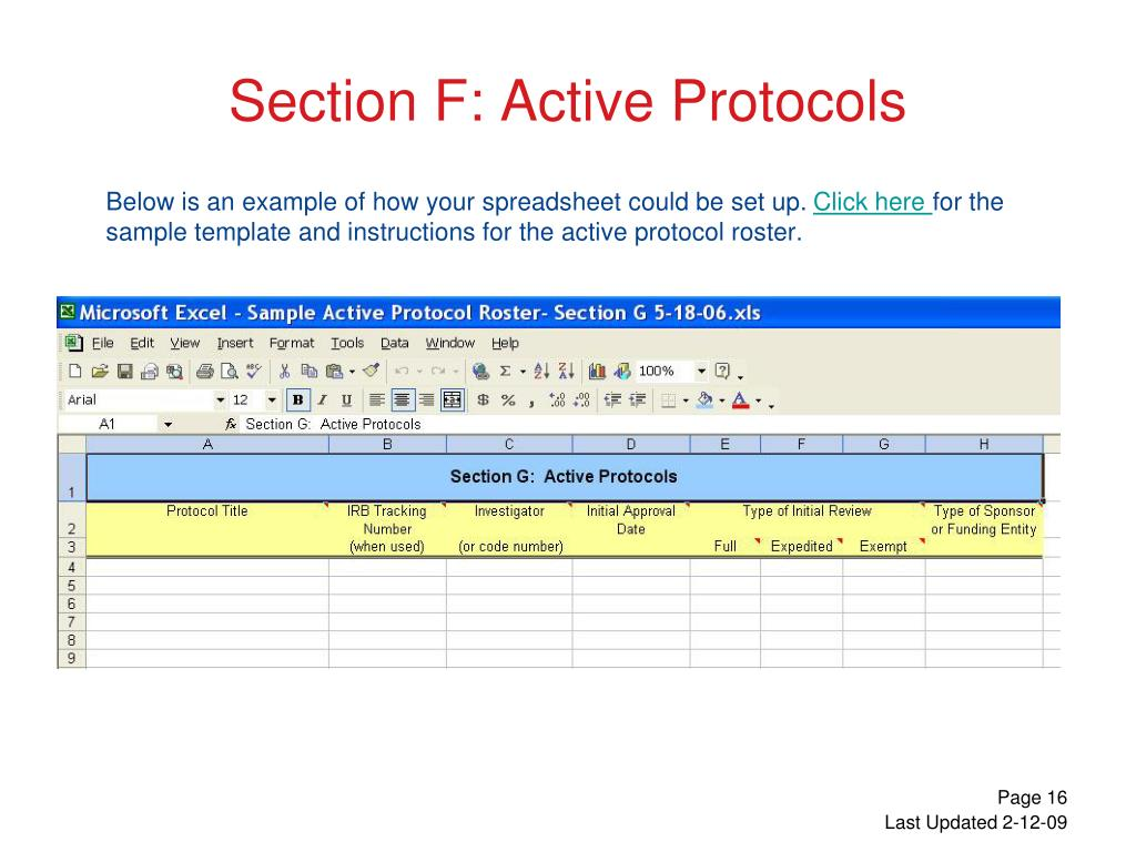 Section F: Active Protocols