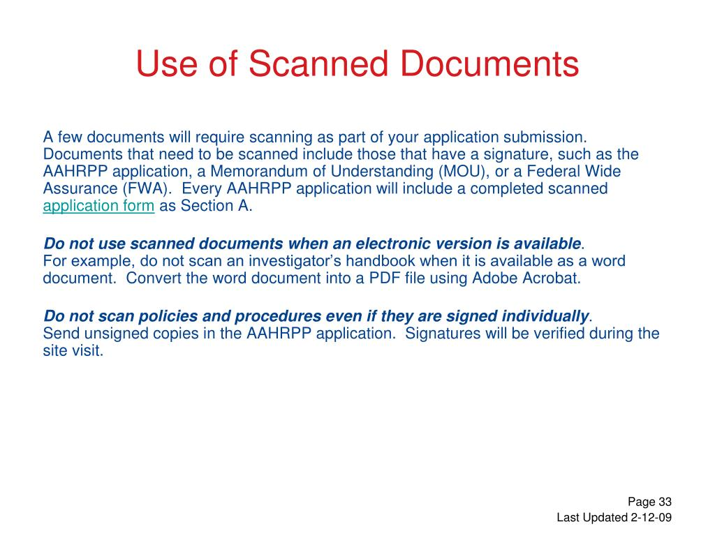 Use of Scanned Documents