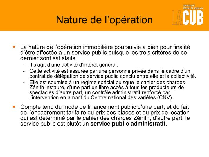 Nature de l op ration