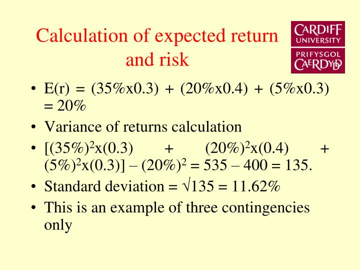 Calculation of expected return and risk