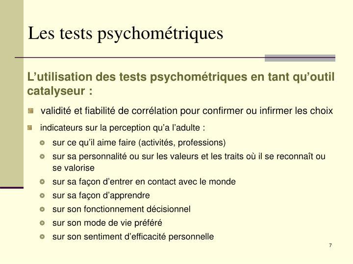 Les tests psychométriques