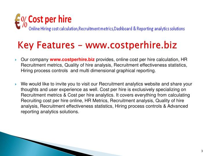 Key features www costperhire biz