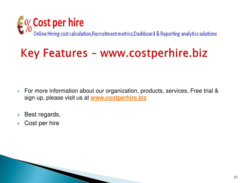Key Features – www.costperhire.biz