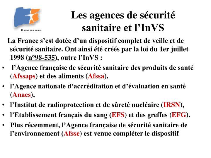 Les agences de sécurité sanitaire et l'InVS