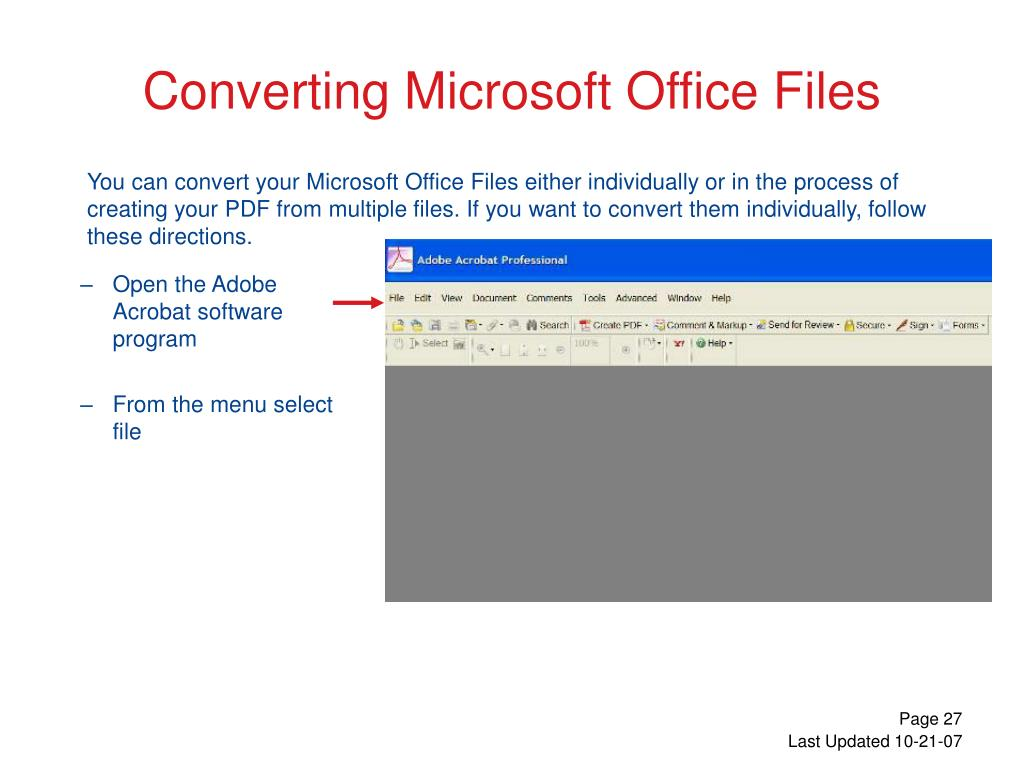 Open the Adobe Acrobat software program