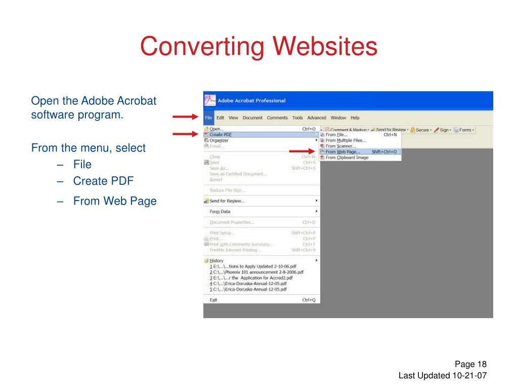 Open the Adobe Acrobat software program.