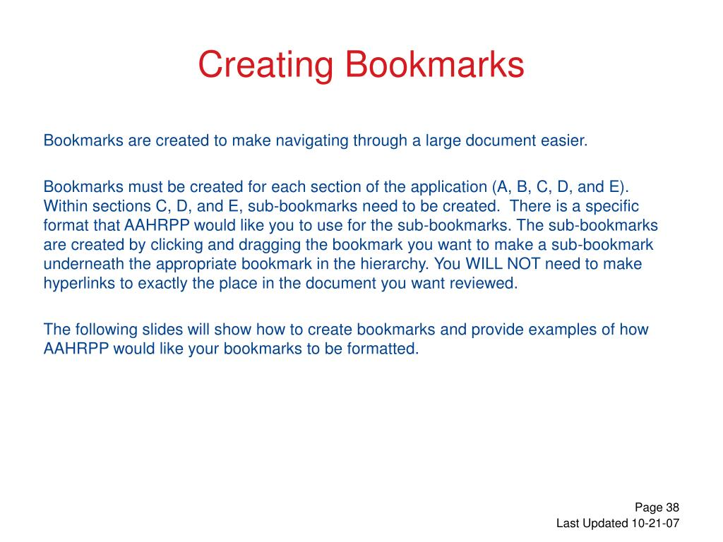 Creating Bookmarks