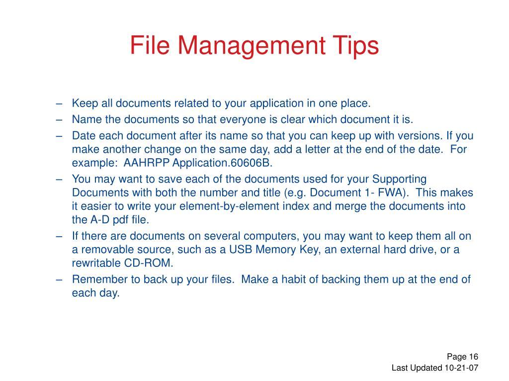 File Management Tips