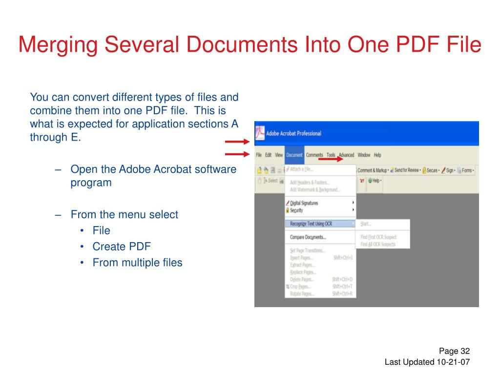 You can convert different types of files and combine them into one PDF file.  This is what is expected for application sections A through E.