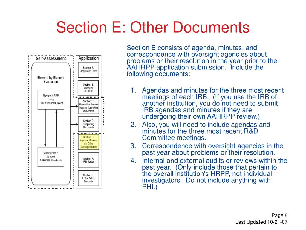 Section E consists of agenda, minutes, and correspondence with oversight agencies about problems or their resolution in the year prior to the AAHRPP application submission.  Include the following documents: