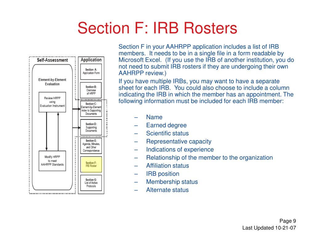 Section F in your AAHRPP application includes a list of IRB members.  It needs to be in a single file in a form readable by Microsoft Excel.  (If you use the IRB of another institution, you do not need to submit IRB rosters if they are undergoing their own AAHRPP review.)
