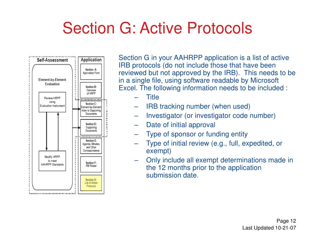 Section G in your AAHRPP application is a list of active IRB protocols (do not include those that have been reviewed but not approved by the IRB).  This needs to be in a single file, using software readable by Microsoft Excel. The following information needs to be included :