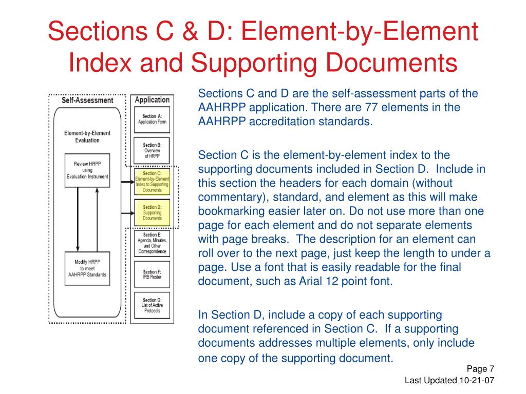 Sections C and D are the self-assessment parts of the AAHRPP application. There are 77 elements in the AAHRPP accreditation standards.