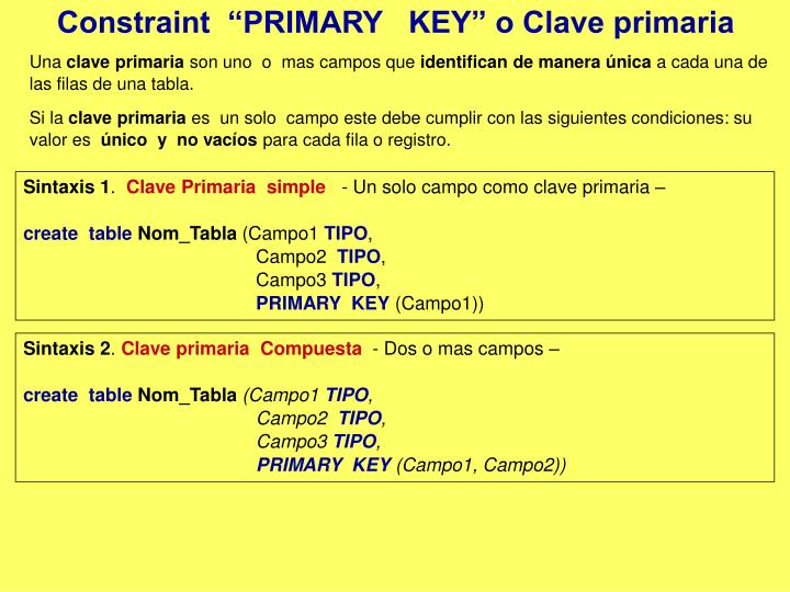 """Constraint  """"PRIMARY   KEY"""" o Clave primaria"""