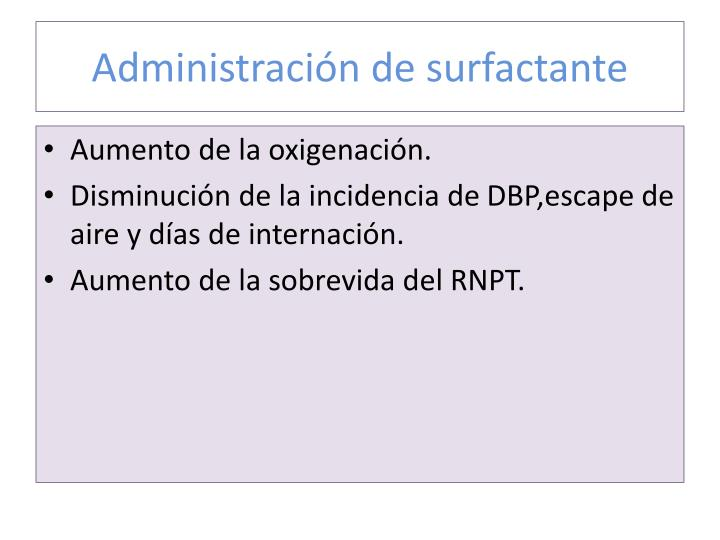 Administración de surfactante