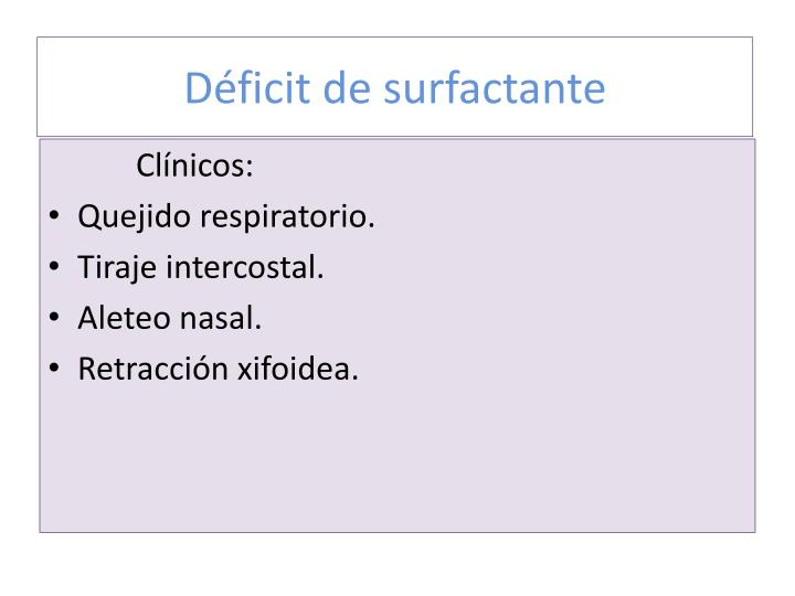 D ficit de surfactante