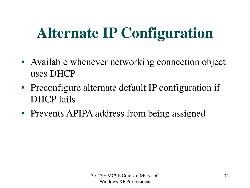 Alternate IP Configuration