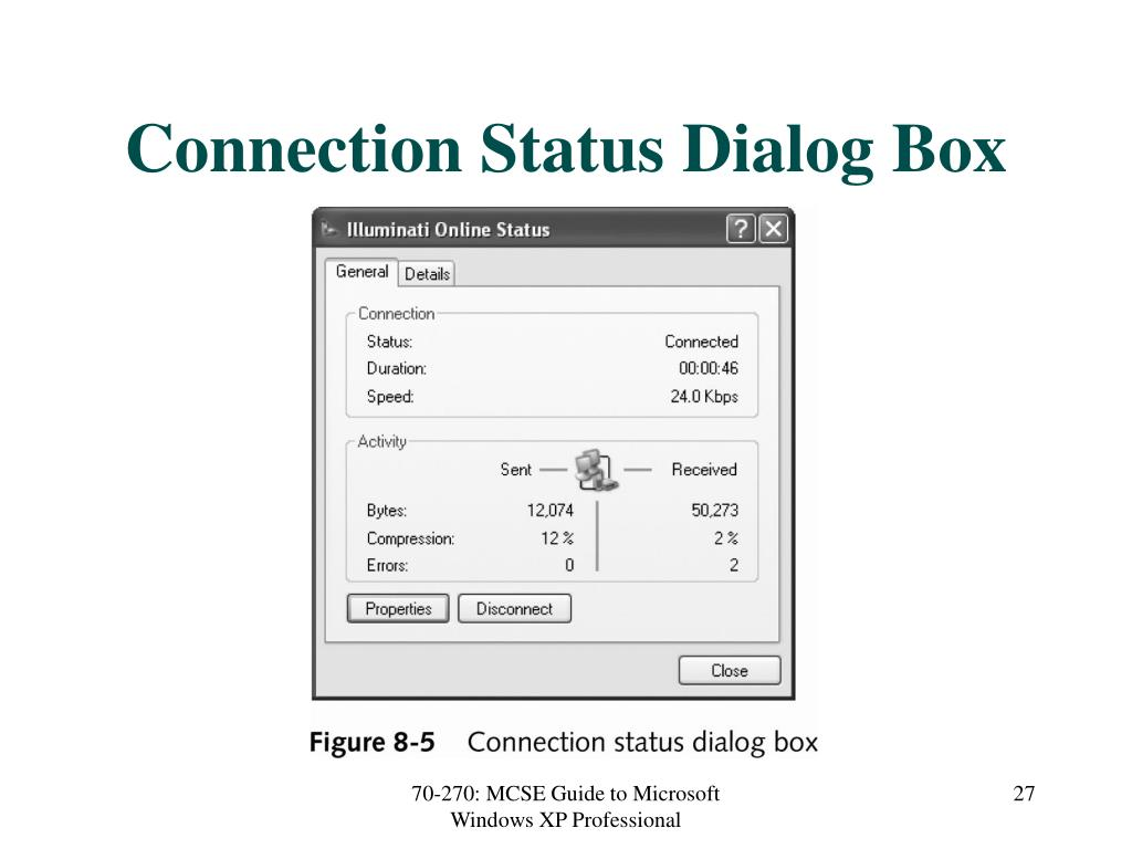 Connection Status Dialog Box
