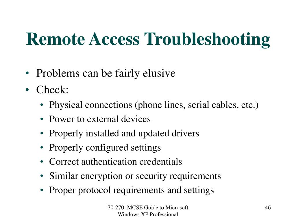 Remote Access Troubleshooting