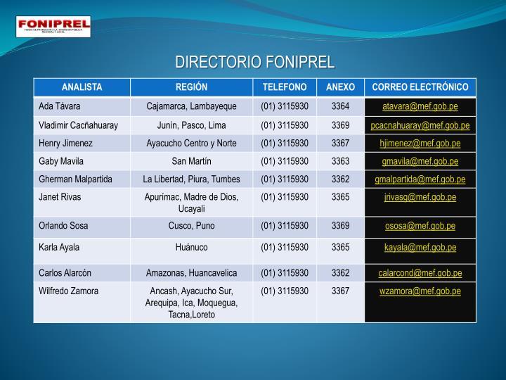 DIRECTORIO FONIPREL