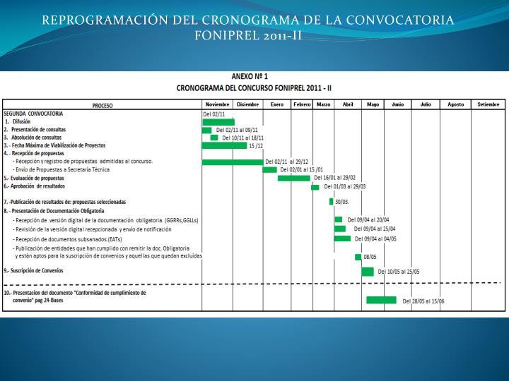 REPROGRAMACIÓN DEL CRONOGRAMA DE LA CONVOCATORIA                       FONIPREL 2011-II