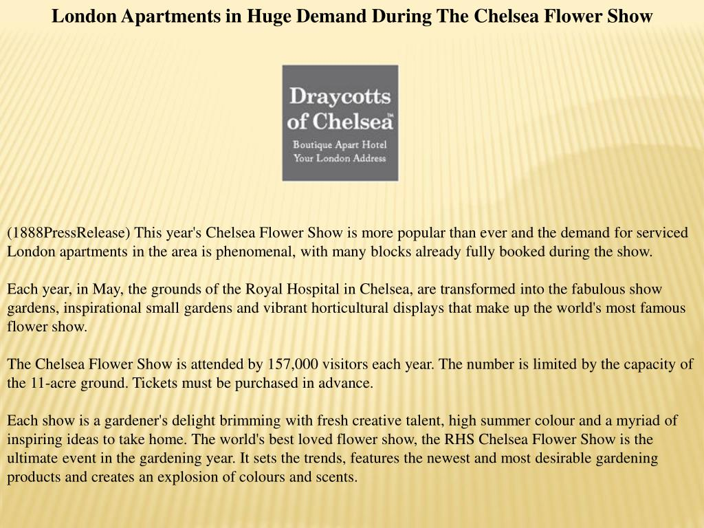 London Apartments in Huge Demand During The Chelsea Flower Show