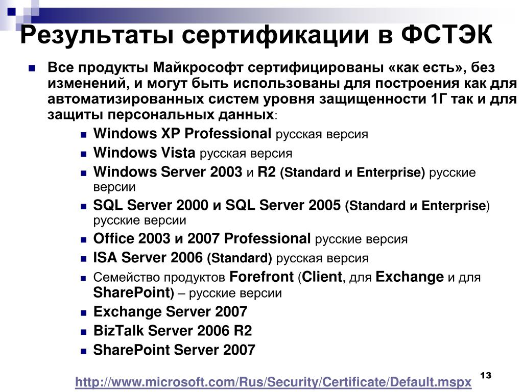 Результаты сертификации в ФСТЭК