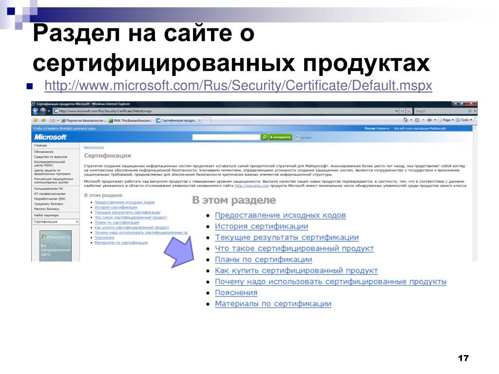 Раздел на сайте о сертифицированных продуктах