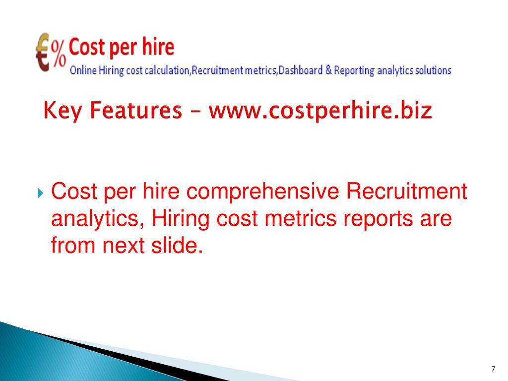 Key Features – www.costperhire.biz