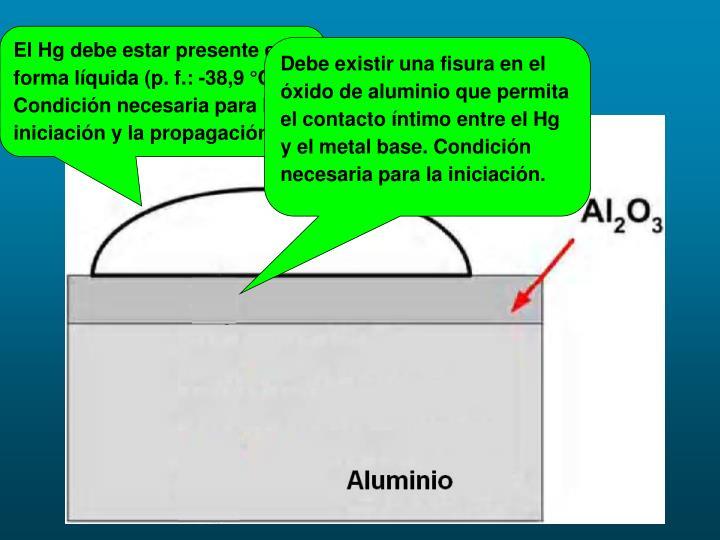 El Hg debe estar presente en forma líquida (p. f.: -38,9 °C).