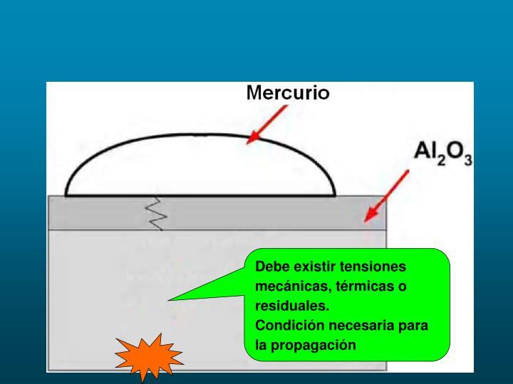 Debe existir tensiones mecánicas, térmicas o residuales.