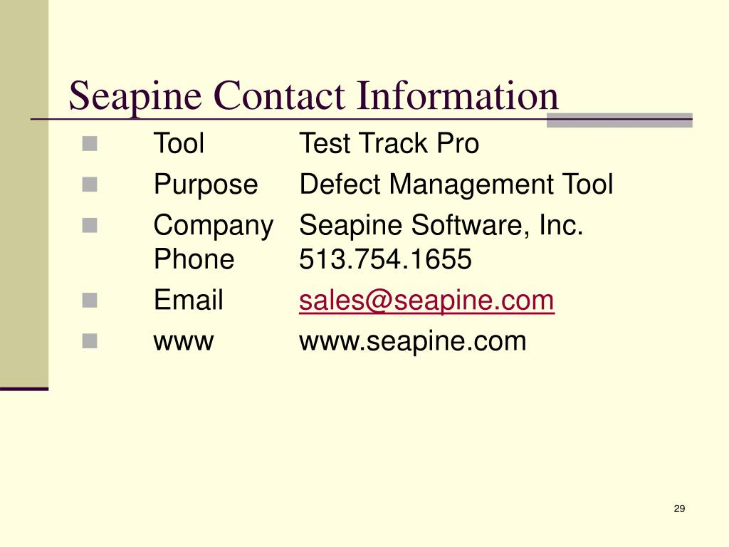 Seapine Contact Information