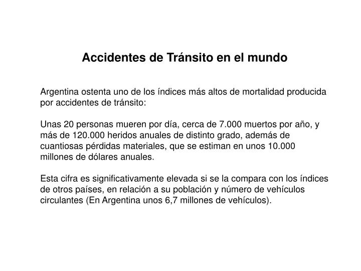 Accidentes de Tránsito en el mundo