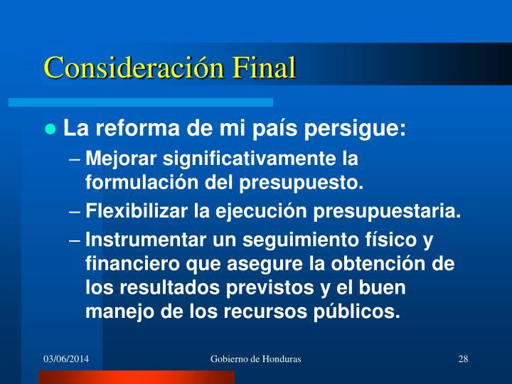 Consideración Final