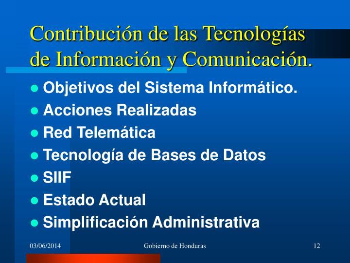 Contribución de las Tecnologías de Información y Comunicación.
