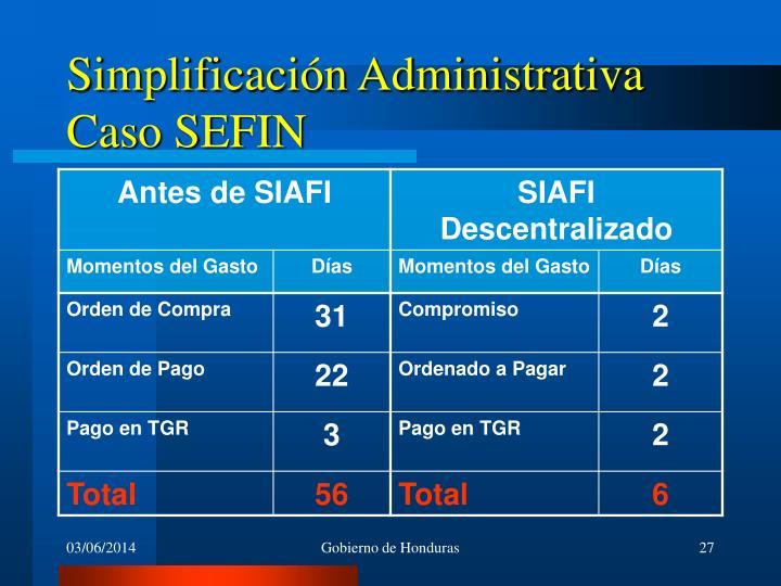 Simplificación Administrativa Caso SEFIN