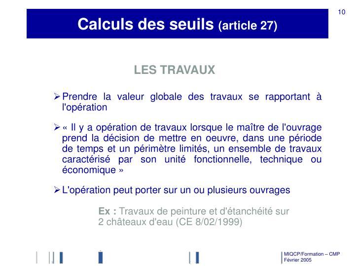 Calculs des seuils