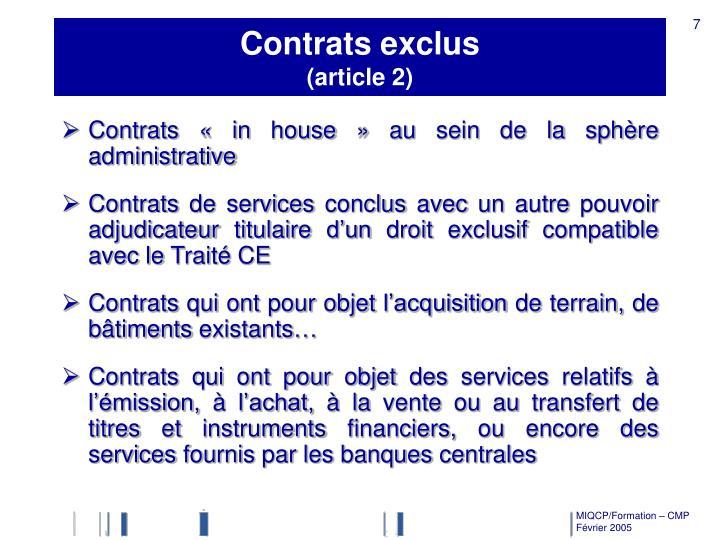 Contrats exclus